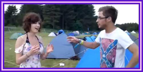 Girl Responds to Walkabout Trance Street Hypnosis at UK Festival